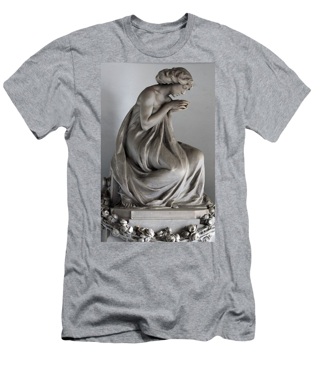 Vertical Men's T-Shirt (Athletic Fit) featuring the photograph Famiglia Meretti Grave Marker Monumental Cemetery Milan Italy by Sally Rockefeller