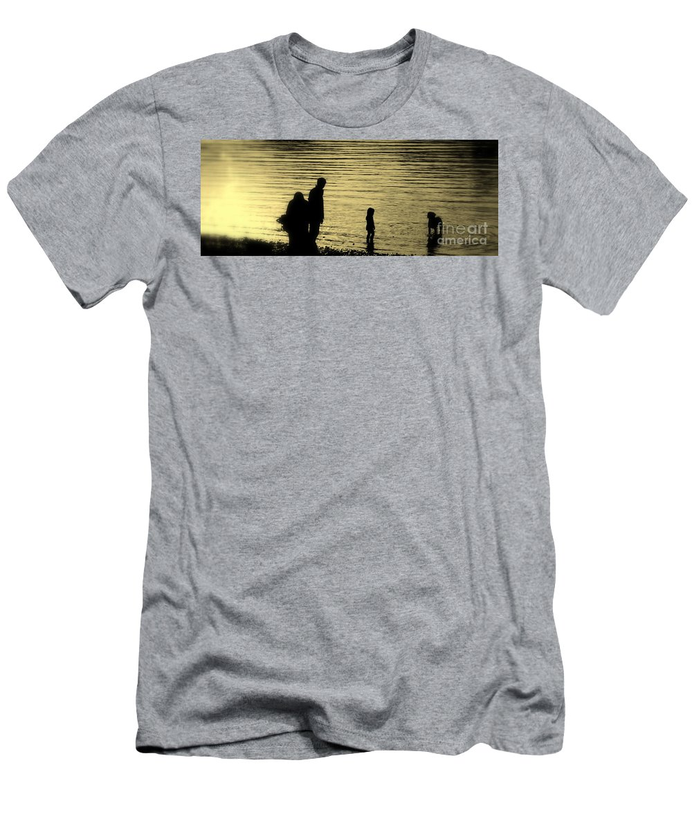Lake Men's T-Shirt (Athletic Fit) featuring the photograph Family Paddle by Linsey Williams