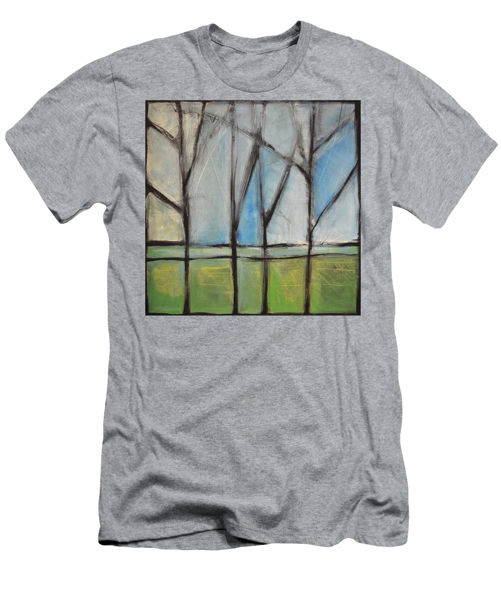 Trees Men's T-Shirt (Athletic Fit) featuring the painting Family by Tim Nyberg