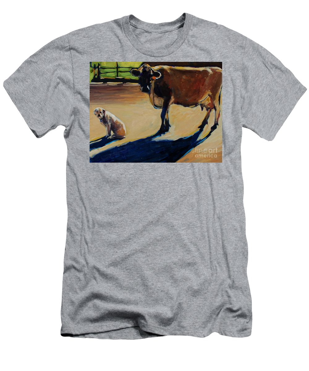 Farm Men's T-Shirt (Athletic Fit) featuring the painting Farm Visit by Molly Poole