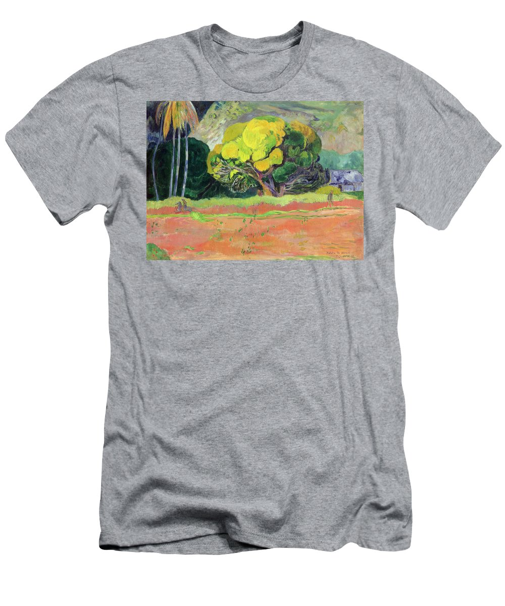 Tahiti Men's T-Shirt (Athletic Fit) featuring the painting Fatata Te Moua by Paul Gauguin