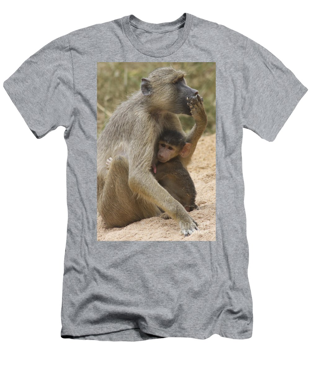 Baboon Men's T-Shirt (Athletic Fit) featuring the photograph Feeding Time by Christina Gupfinger