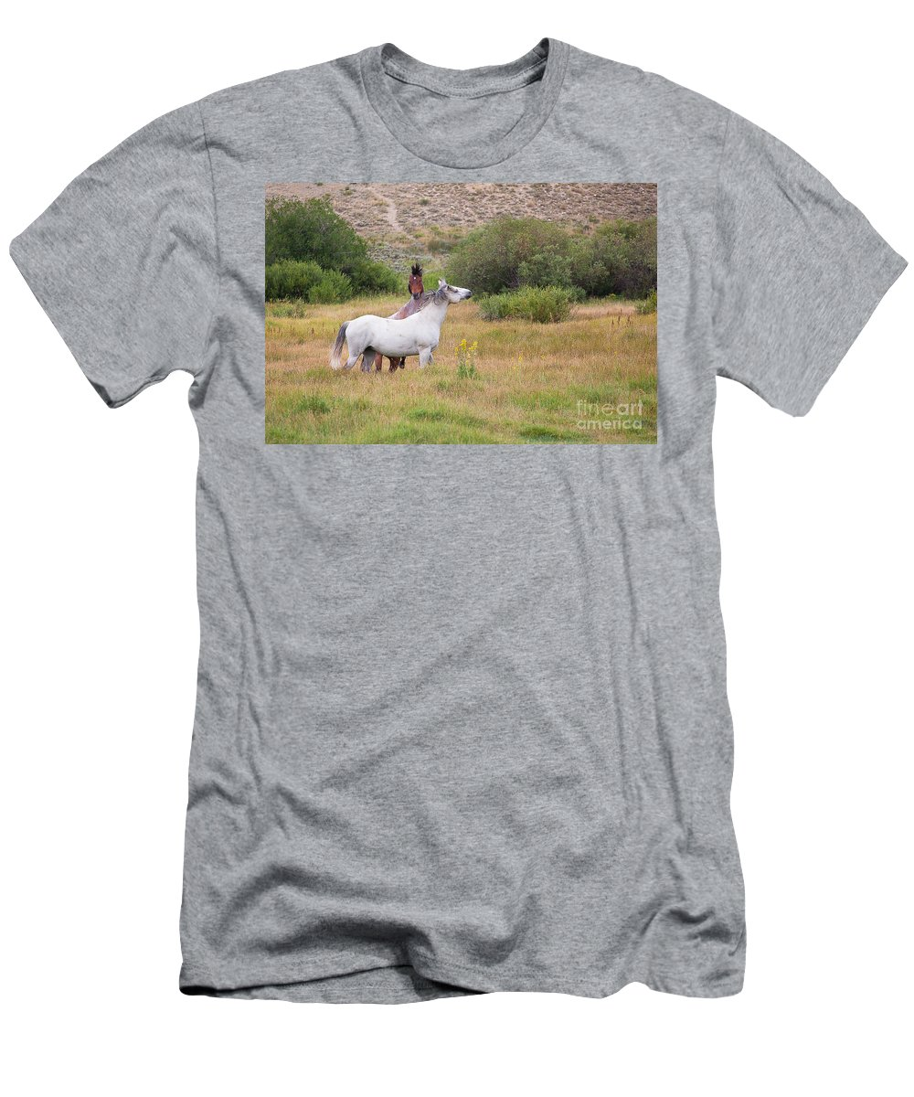 Horses Men's T-Shirt (Athletic Fit) featuring the photograph Feeling Their Oats by Jim Garrison