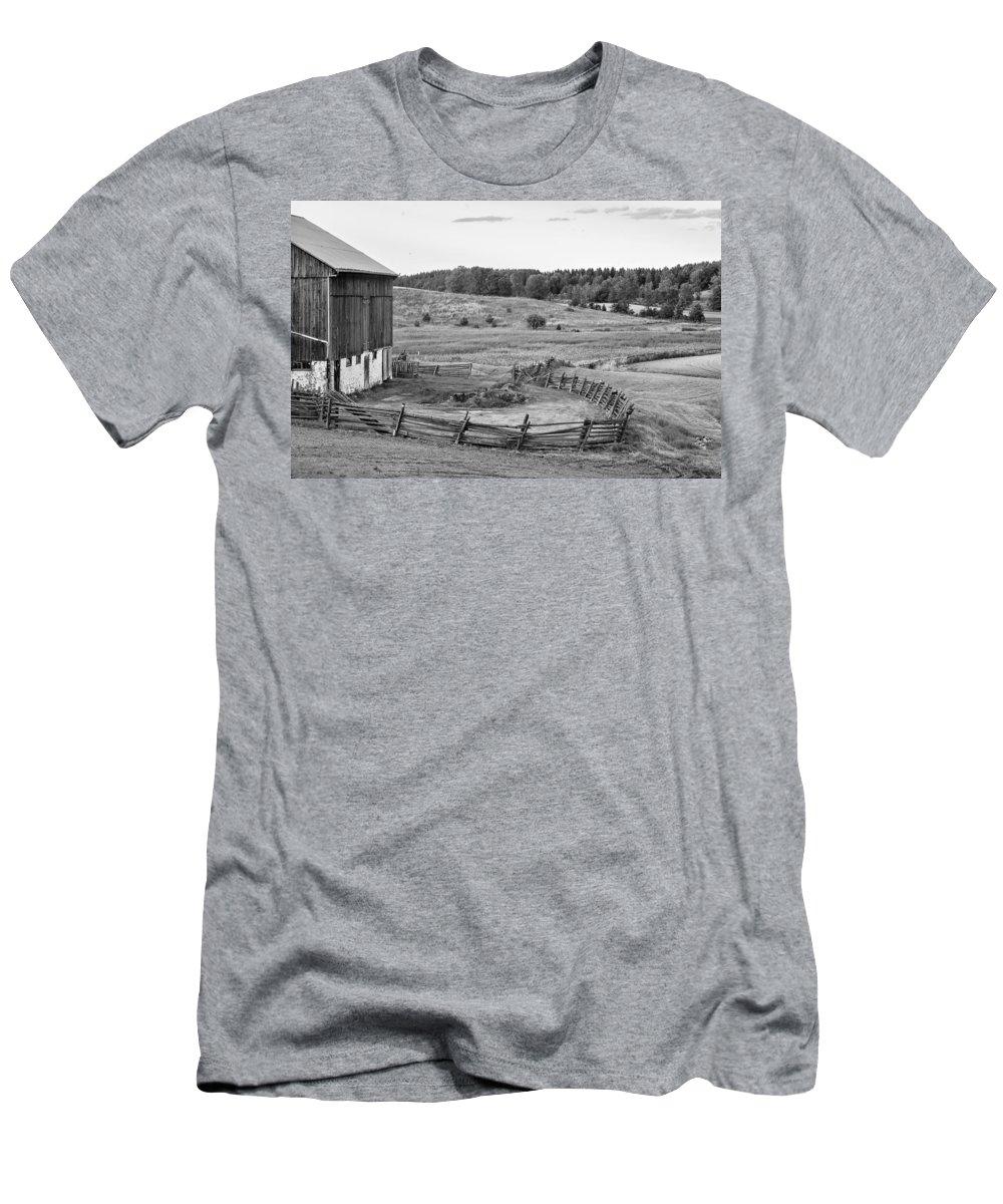 Farm Men's T-Shirt (Athletic Fit) featuring the photograph Fence Line Monochrome by Steve Harrington