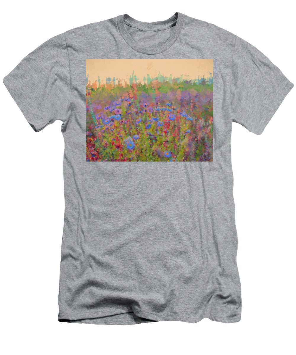 Flowers Men's T-Shirt (Athletic Fit) featuring the digital art Field Of Flowers by Cathy Anderson
