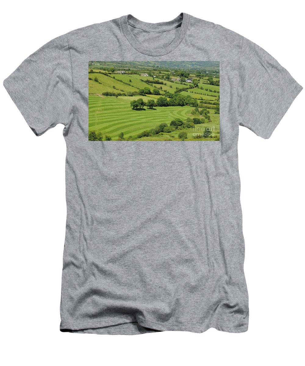 County Antrim Men's T-Shirt (Athletic Fit) featuring the photograph Fields In Northern Ireland by John Shaw