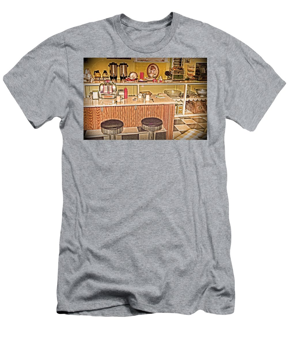 Fifty's Lunch Counter Men's T-Shirt (Athletic Fit) featuring the photograph Fifty's Lunch Counter Nostalgic by Randall Branham