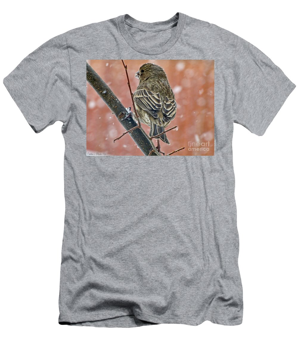 Nature Men's T-Shirt (Athletic Fit) featuring the photograph Finch On A Snowy Day by Debbie Portwood