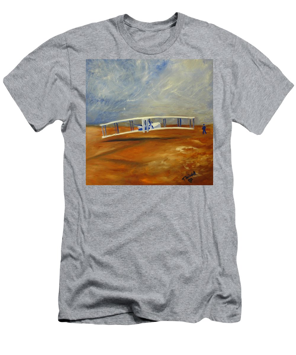 Wright Brothers Men's T-Shirt (Athletic Fit) featuring the painting First Flight Aka Kittyhawk Dream by Tina Swindell