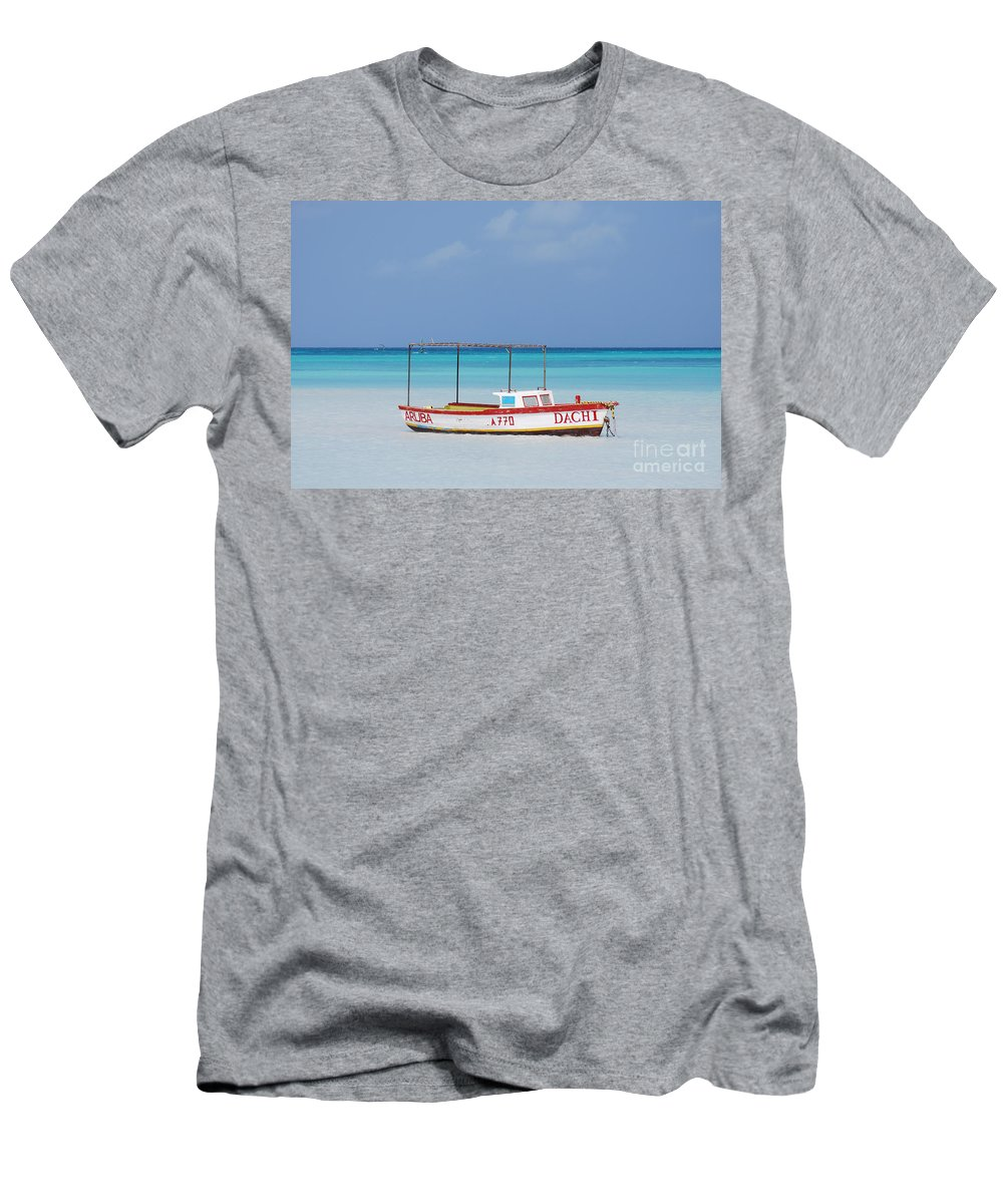 Fisherman Men's T-Shirt (Athletic Fit) featuring the photograph Fisherman's Beach In Aruba by DejaVu Designs