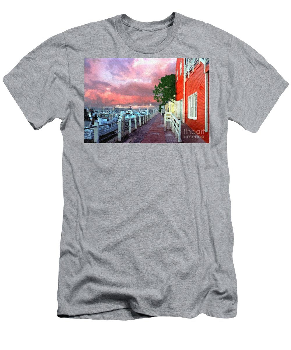 Fisherman's Village Marina Del Rey Ca. Sunset Men's T-Shirt (Athletic Fit) featuring the photograph Fisherman's Village Marina Del Mar Ca by David Zanzinger