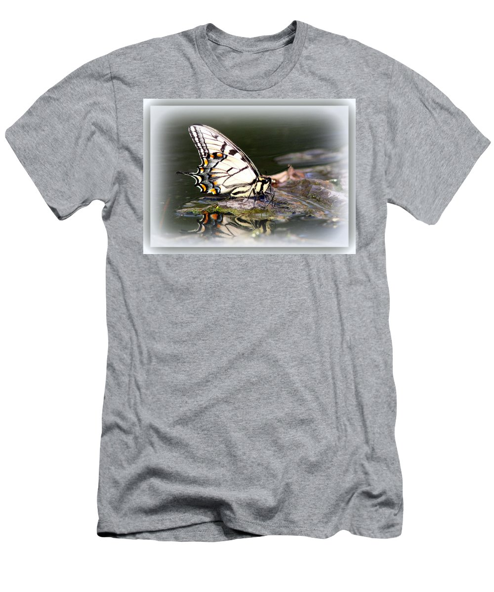 Eastern Tiger Swallowtail In Water Men's T-Shirt (Athletic Fit) featuring the photograph Floating In Water - Swallowtail -butterfly by Travis Truelove