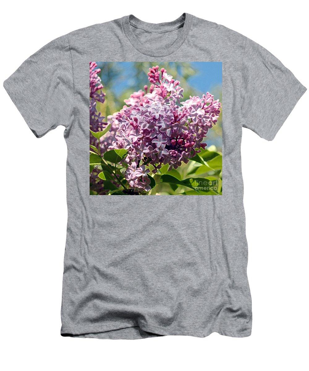 Flowering Men's T-Shirt (Athletic Fit) featuring the photograph Flowering Lliac Bush by Kathleen Struckle