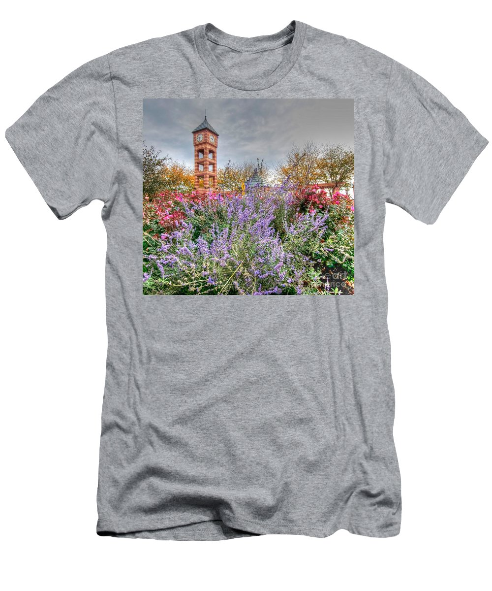 Clock Tower Men's T-Shirt (Athletic Fit) featuring the photograph Flowers - Clock Tower by L Wright