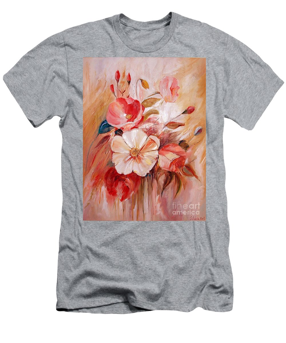 Abstract Men's T-Shirt (Athletic Fit) featuring the painting Flowers I by Silvana Abel