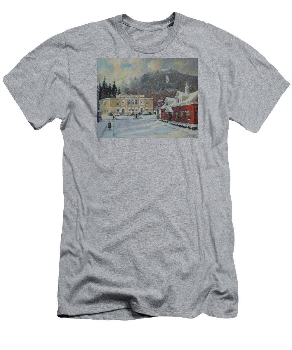 Berkshire Hills Paintings Men's T-Shirt (Athletic Fit) featuring the painting Flurries Over Mount Greylock by Len Stomski