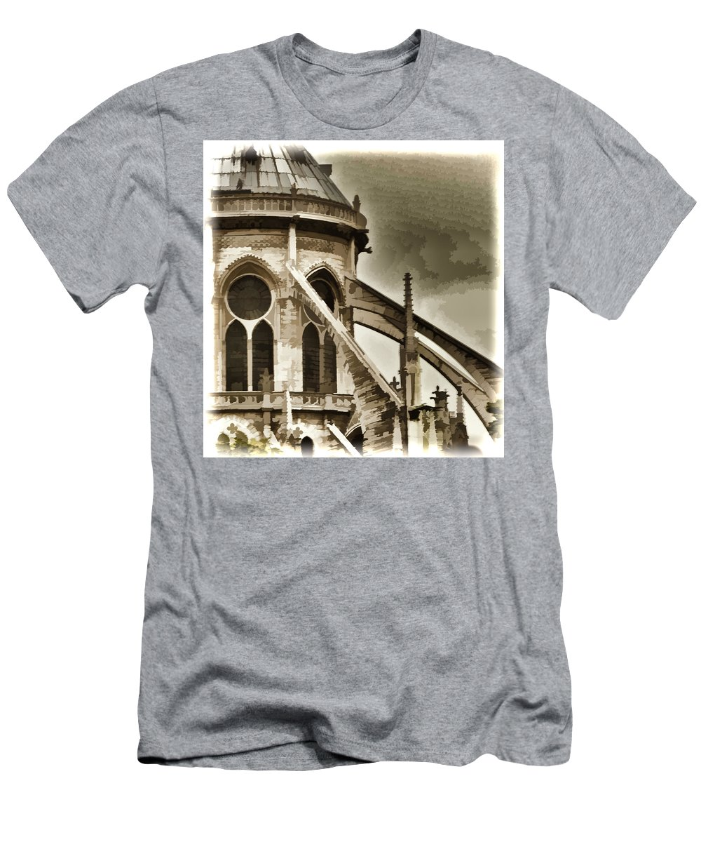 Notre Dame Cathedral Men's T-Shirt (Athletic Fit) featuring the photograph Flying Buttress At Notre Dame by Jon Berghoff