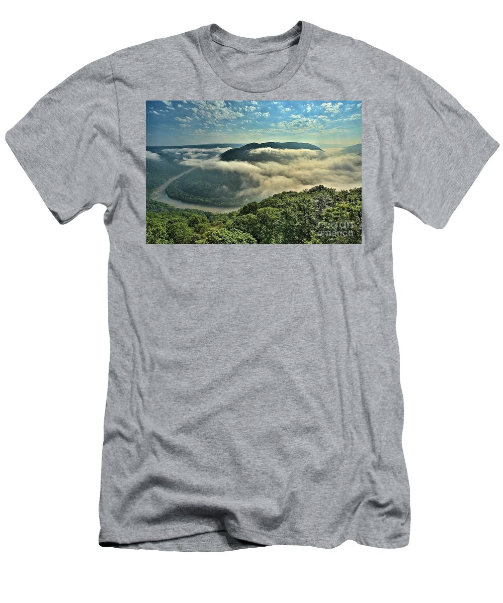 Grand View Men's T-Shirt (Athletic Fit) featuring the photograph Fog In The Grand View Valley by Adam Jewell