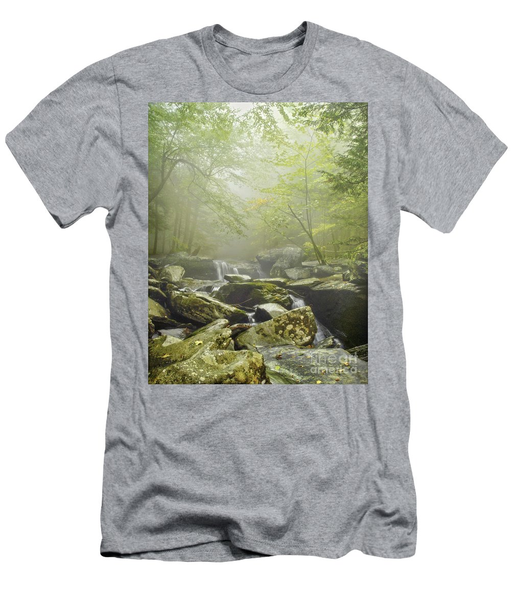 Fog Men's T-Shirt (Athletic Fit) featuring the photograph Foggy by Claudia Kuhn