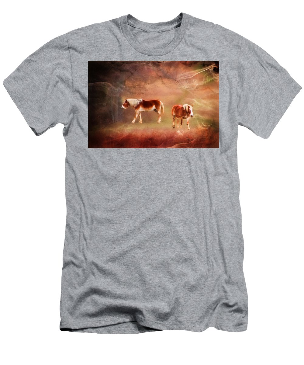 Horse Men's T-Shirt (Athletic Fit) featuring the photograph Foggy Day - Featured In Funky Images Group by Ericamaxine Price