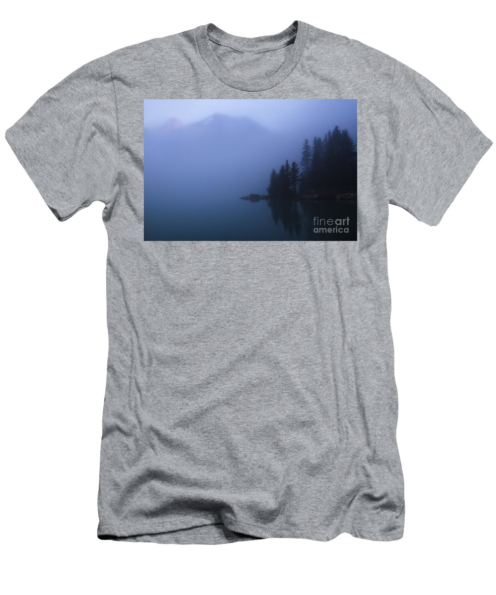Lake Louise Men's T-Shirt (Athletic Fit) featuring the photograph Foggy Sunrise by Dennis Hedberg
