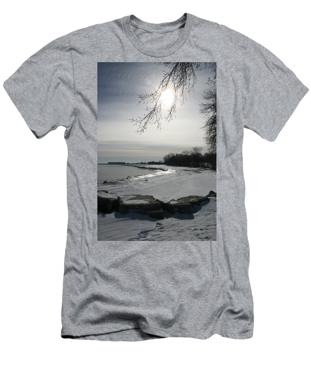 Lake Michigan Men's T-Shirt (Athletic Fit) featuring the photograph Foot Prints Along The Shore by Kay Novy