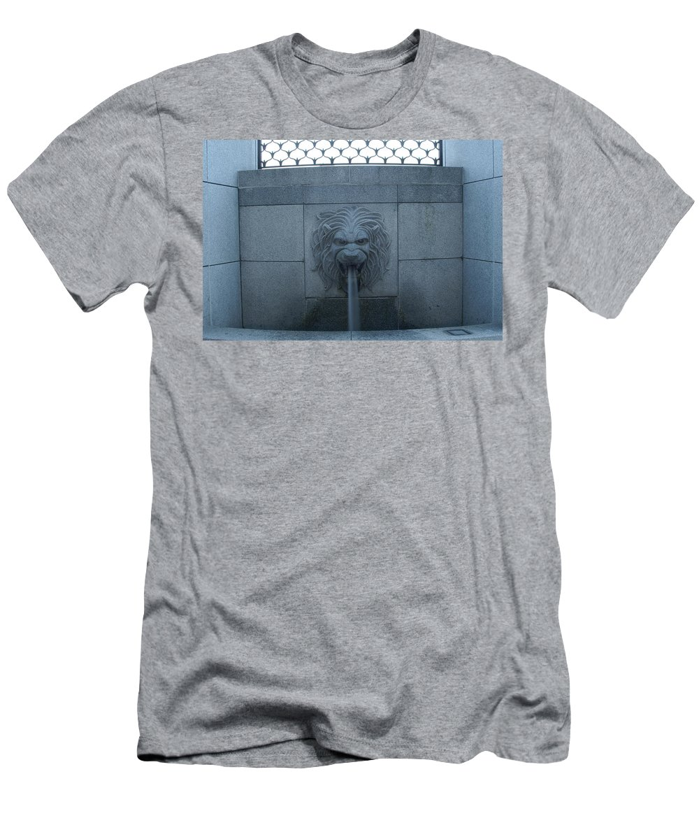 Lion Men's T-Shirt (Athletic Fit) featuring the photograph Fountain Seat by Rob Luzier