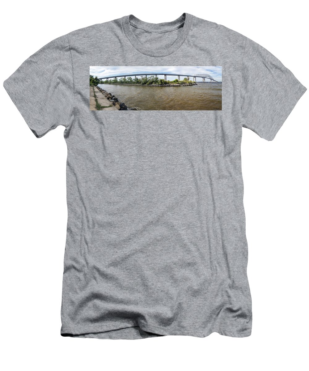2d Men's T-Shirt (Athletic Fit) featuring the photograph Francis Scott Key Bridge - Pano by Brian Wallace