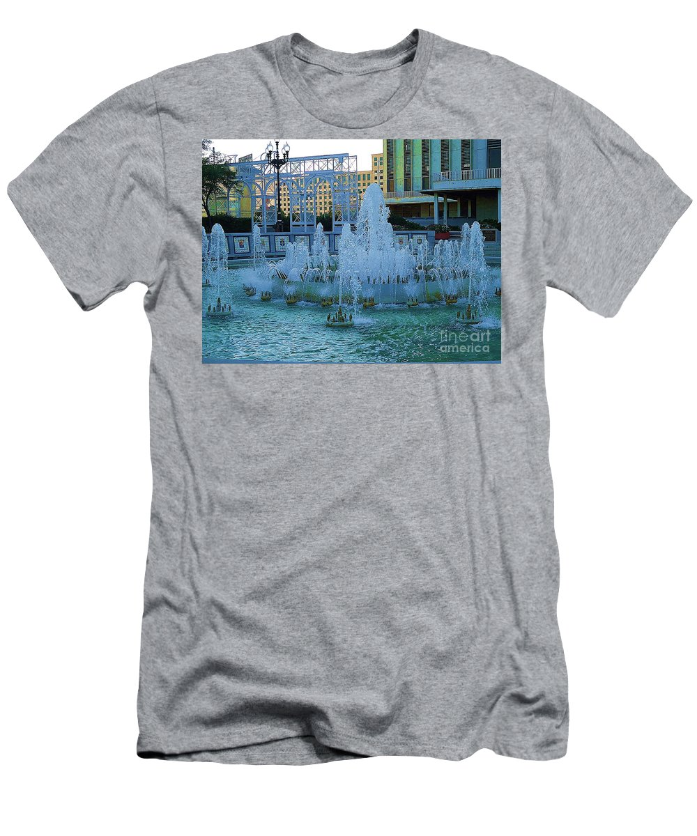 French Quarter Fountain Men's T-Shirt (Athletic Fit) featuring the photograph French Quarter Water Fountain by Saundra Myles