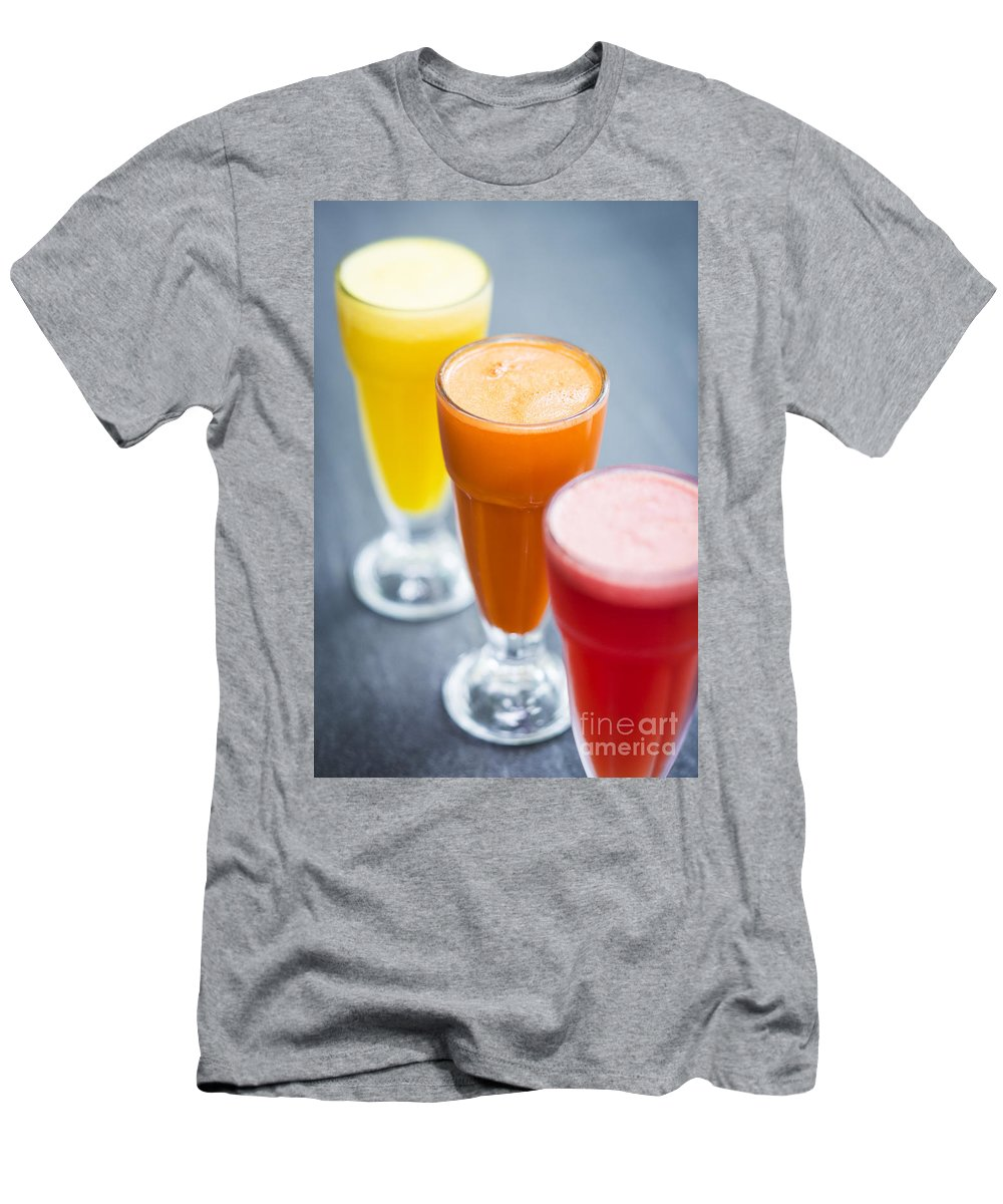Carrot Men's T-Shirt (Athletic Fit) featuring the photograph Fresh Orange Carrot And Watermelon Fruit Juice by Jacek Malipan
