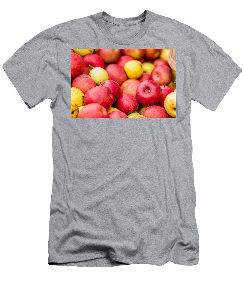 Agriculture Men's T-Shirt (Athletic Fit) featuring the photograph Freshly Harvested Colorful Crimson Crisp Apples On Display At Th by Alex Grichenko