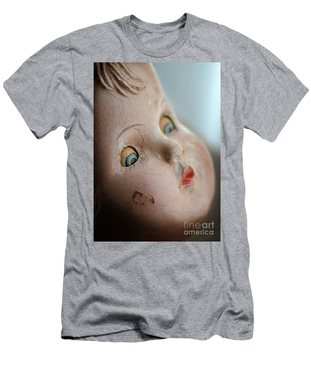 Doll Men's T-Shirt (Athletic Fit) featuring the photograph Frightened Vintage Doll Face by Jill Battaglia