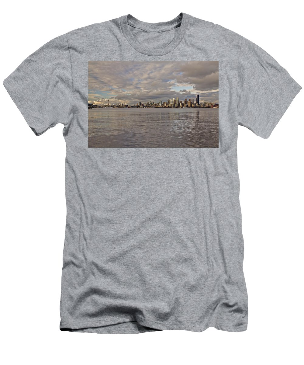 Sun Set Men's T-Shirt (Athletic Fit) featuring the photograph from Alki Beach Seattle skyline by SC Heffner