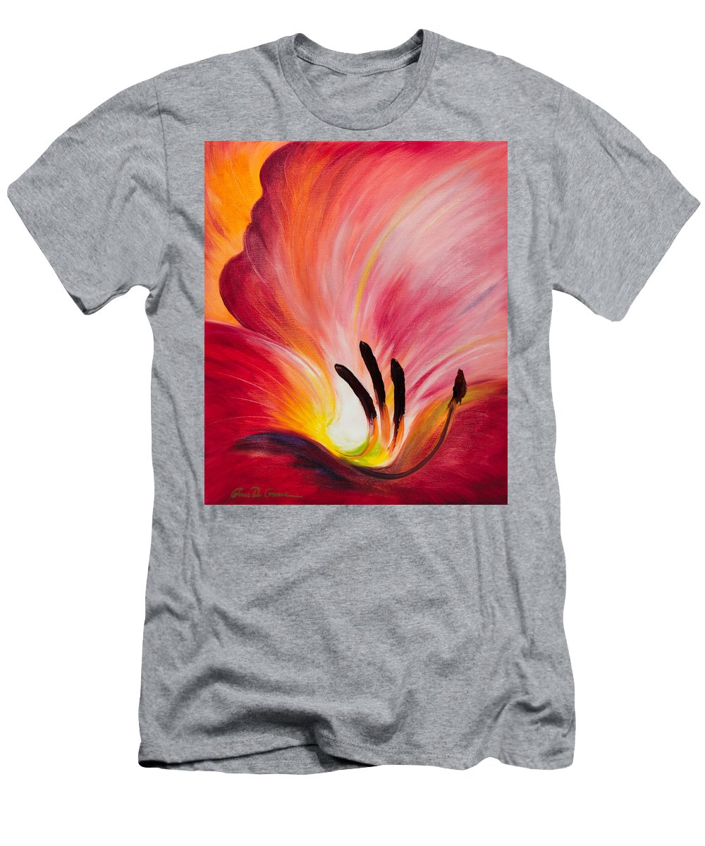 Red Men's T-Shirt (Athletic Fit) featuring the painting From The Heart Of A Flower Red I by Gina De Gorna