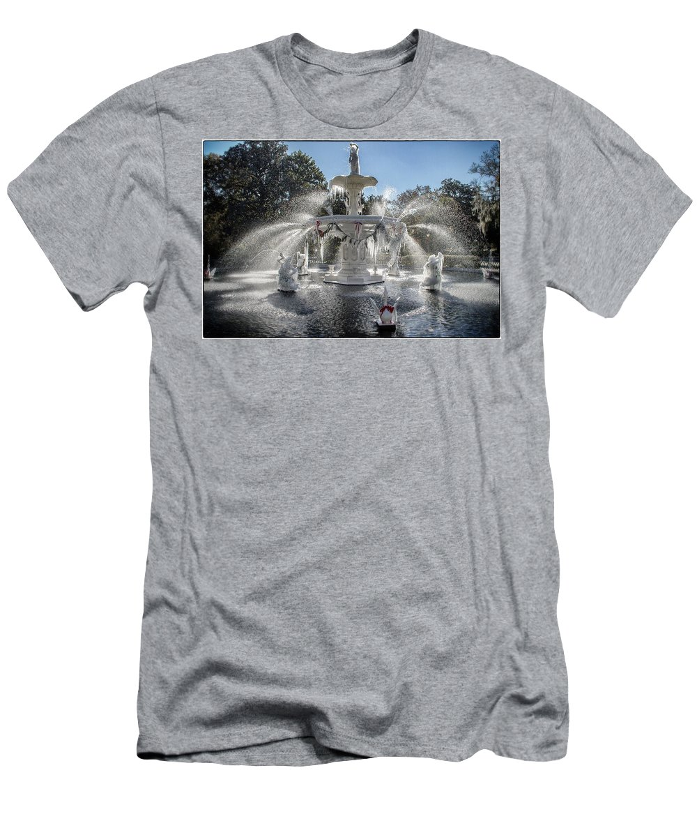 Frost Men's T-Shirt (Athletic Fit) featuring the photograph Frosty Savannah Winter Dream by For Ninety One Days