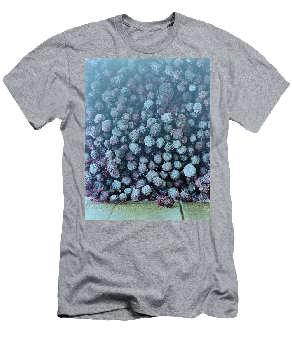 Berries Men's T-Shirt (Athletic Fit) featuring the photograph Frozen Blueberries by Romulo Yanes