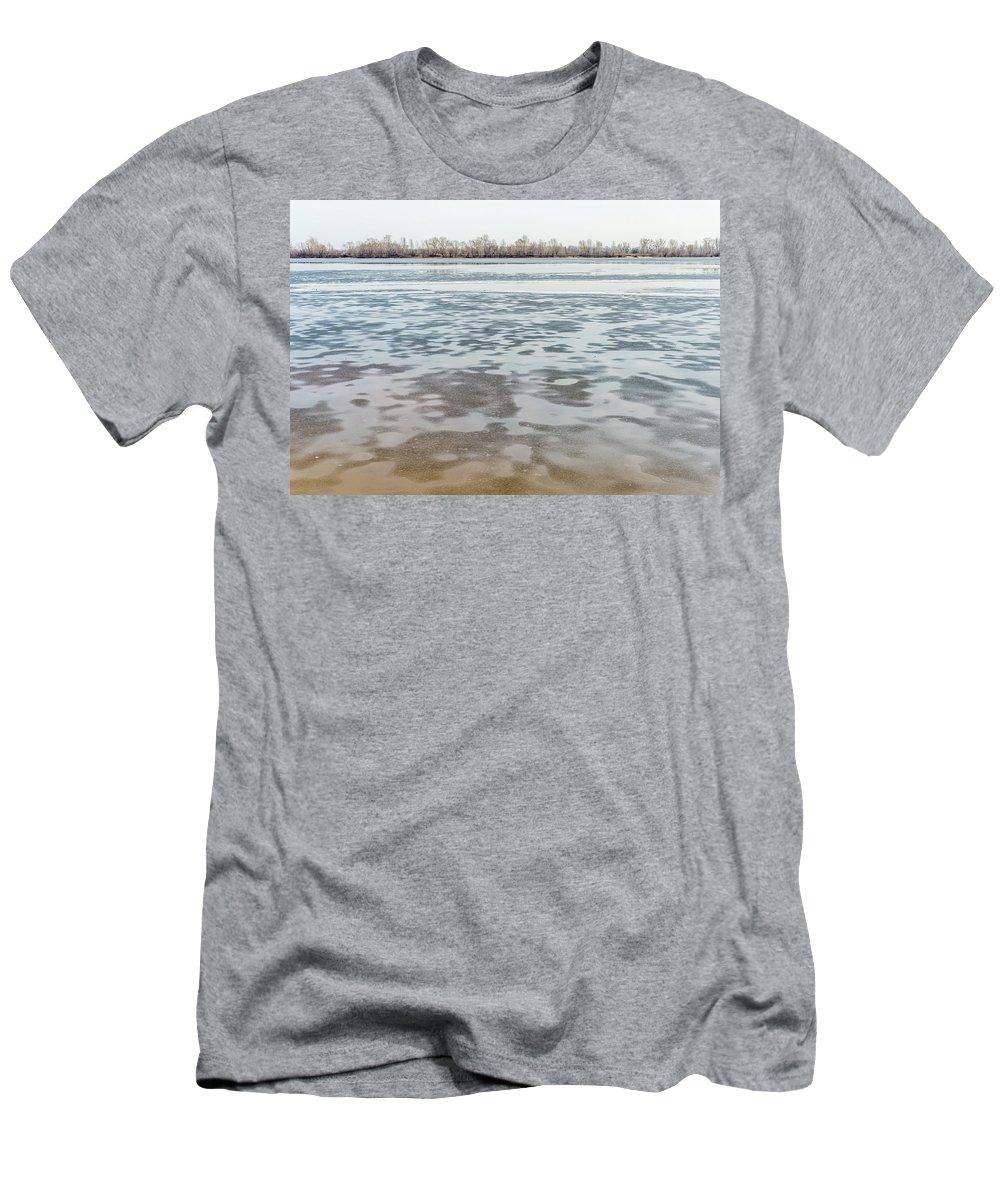 Dnieper Men's T-Shirt (Athletic Fit) featuring the photograph Frozen Dnieper River by Alain De Maximy