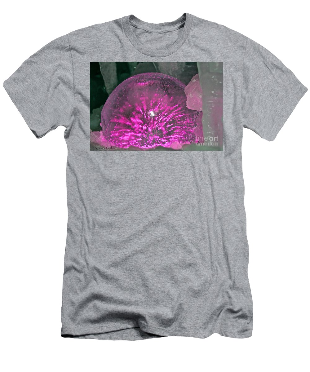 Ice Men's T-Shirt (Athletic Fit) featuring the photograph Frozen Fuchsia by Susan Herber