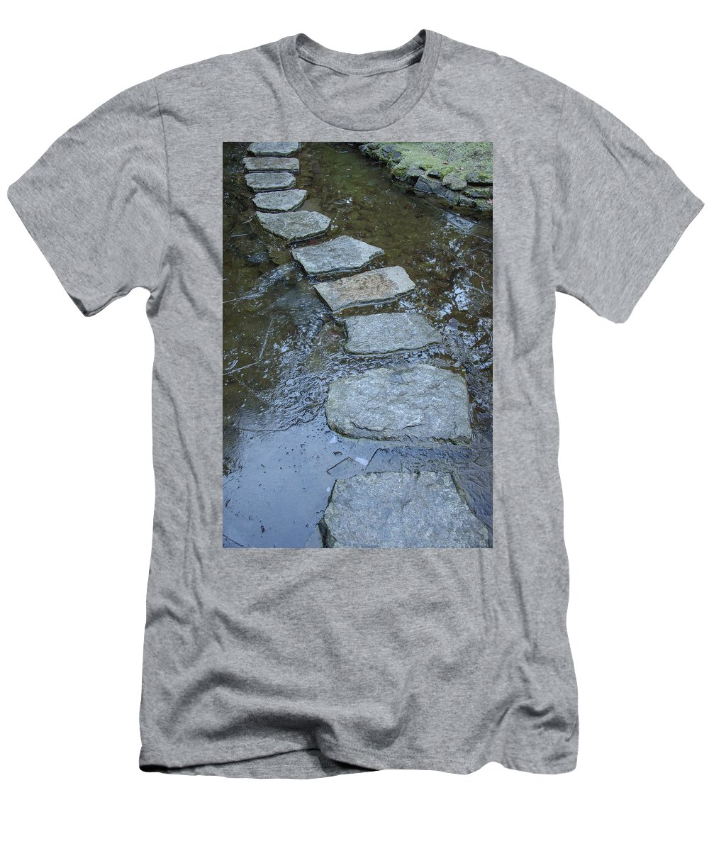 Frozen Garden Men's T-Shirt (Athletic Fit) featuring the photograph Slippery Stone Path by Roxy Hurtubise