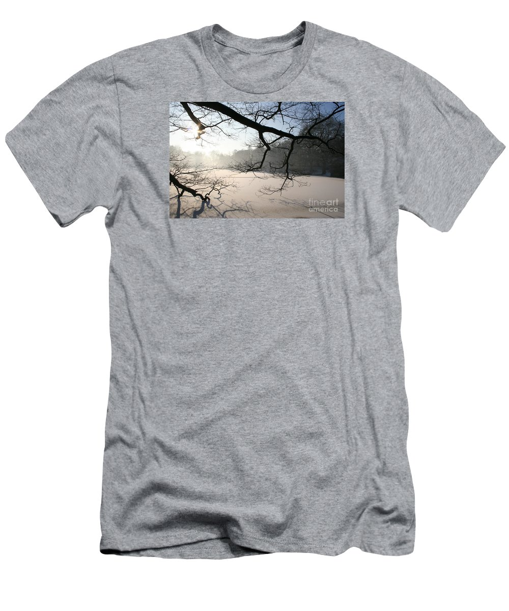 Pond Men's T-Shirt (Athletic Fit) featuring the photograph Frozen Pond by Christiane Schulze Art And Photography