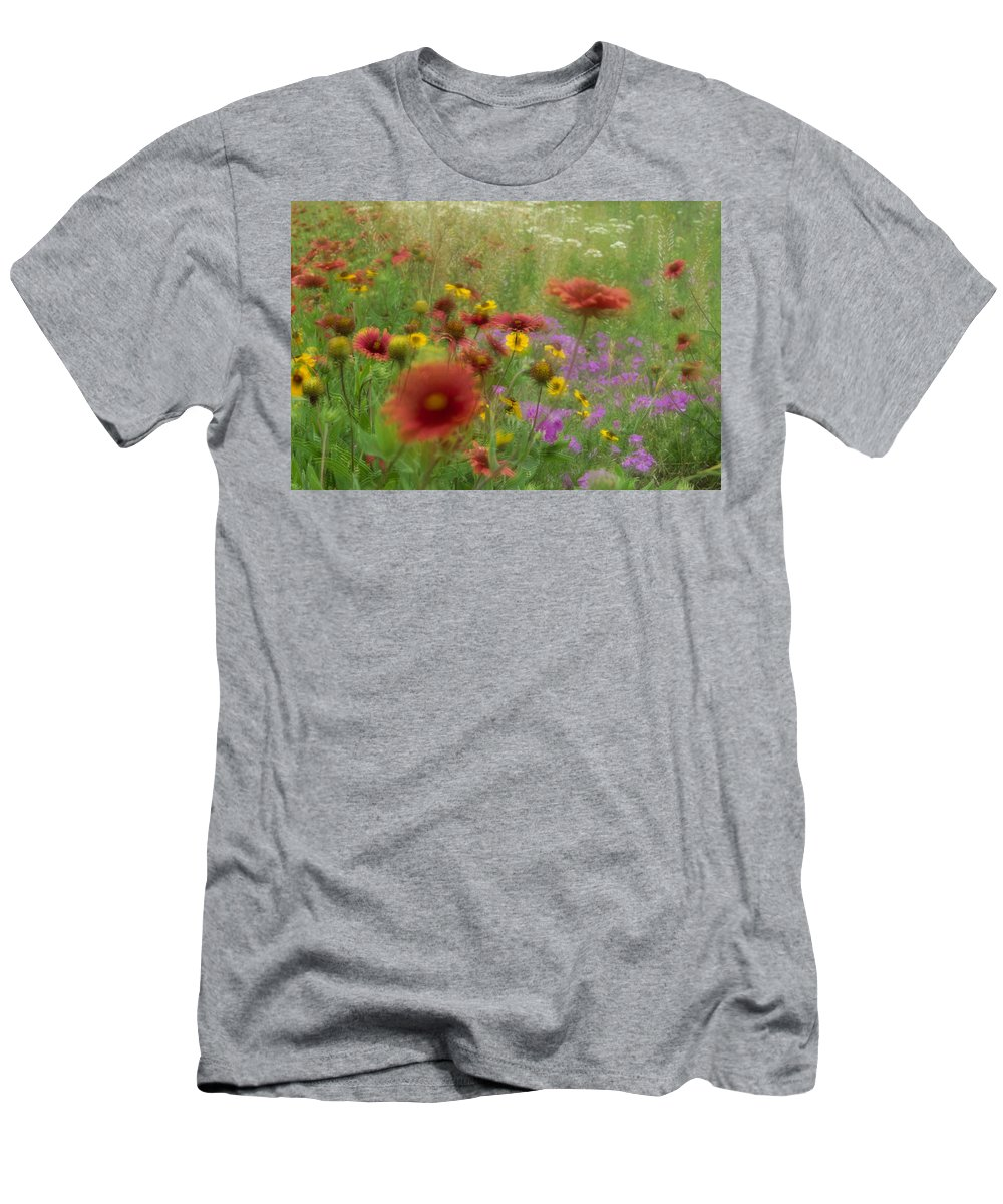 Feb0514 Men's T-Shirt (Athletic Fit) featuring the photograph Gaillardia Coreopsis And Pointed Phlox by Tim Fitzharris