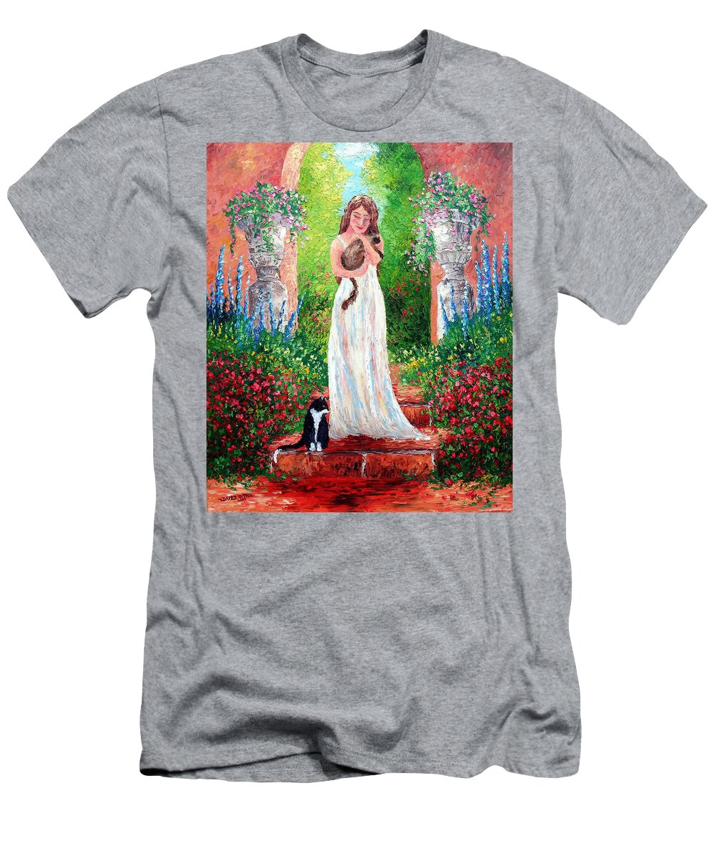 Cat T-Shirt featuring the painting Garden Friends by David G Paul