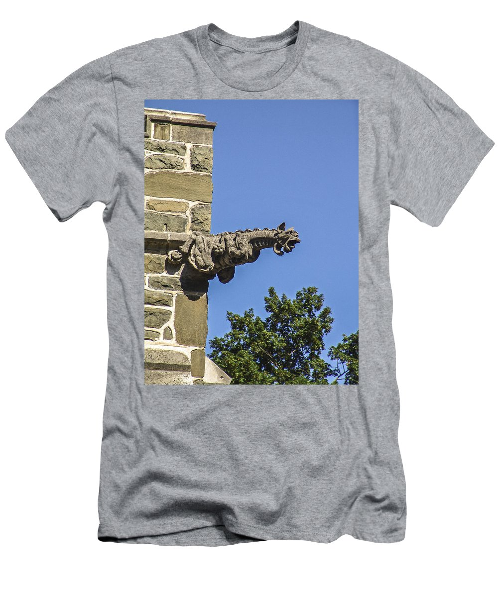 Gothic Church Men's T-Shirt (Athletic Fit) featuring the photograph Gargoyle by Eric Swan