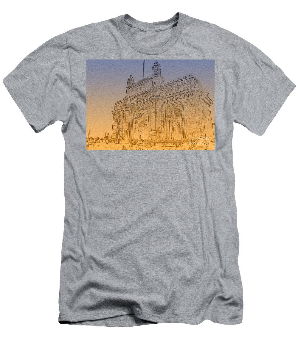 Landmark Men's T-Shirt (Athletic Fit) featuring the photograph Gate Way Of India by Manjot Singh Sachdeva