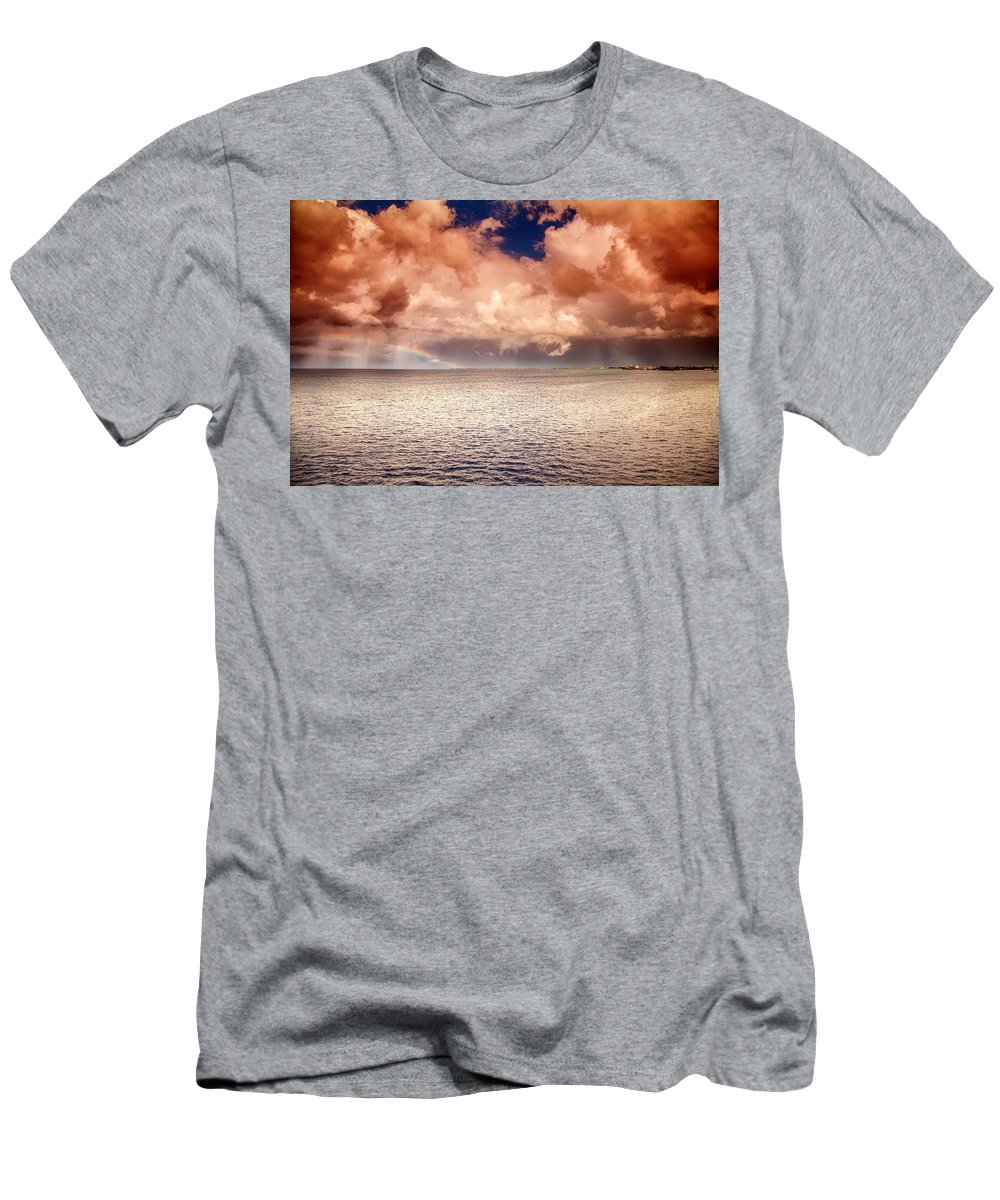 Grand Cayman Men's T-Shirt (Athletic Fit) featuring the photograph George Town-grand Cayman Rainbow After The Storm by Eti Reid