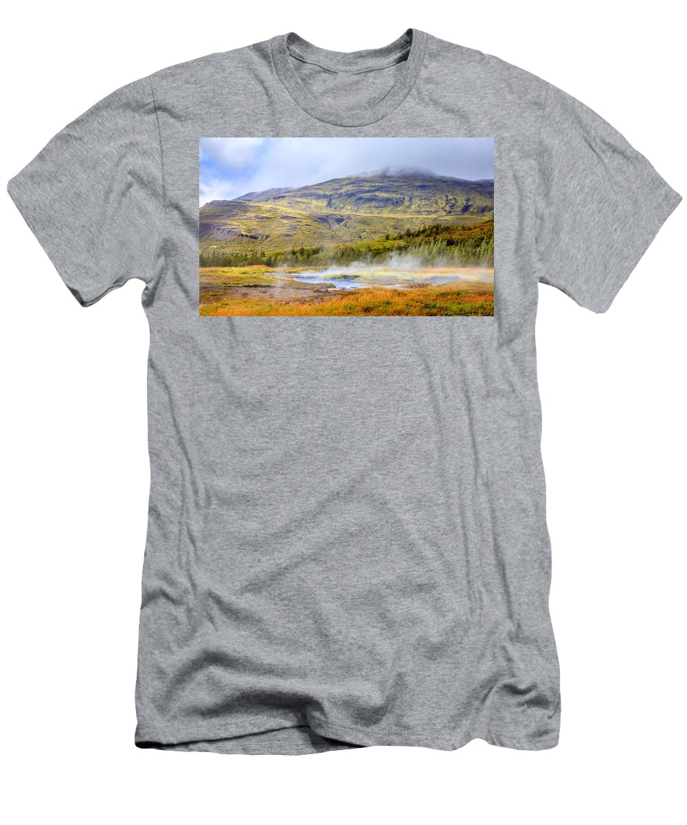 Europe Men's T-Shirt (Athletic Fit) featuring the photograph Geothermal Pools by Alexey Stiop
