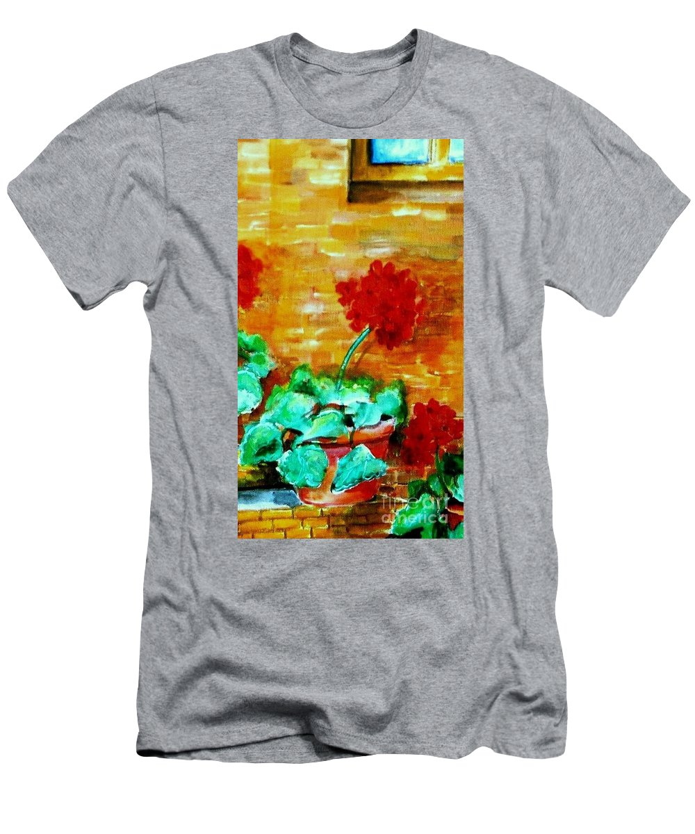Geraniums Men's T-Shirt (Athletic Fit) featuring the painting Geraniums  by Eric Schiabor