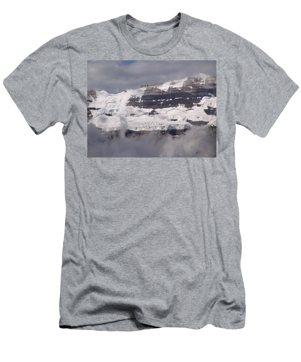Mountain Men's T-Shirt (Athletic Fit) featuring the photograph Victoria Glacier Mist - Lake Louise, Alberta by Ian Mcadie