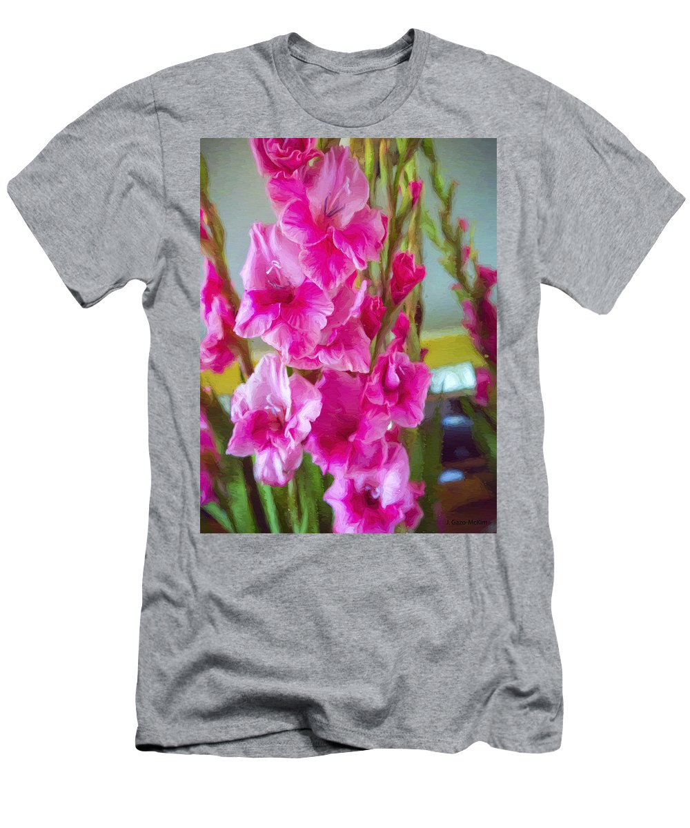 Flowers Men's T-Shirt (Athletic Fit) featuring the digital art Glorious Gladiolus by Jo-Anne Gazo-McKim