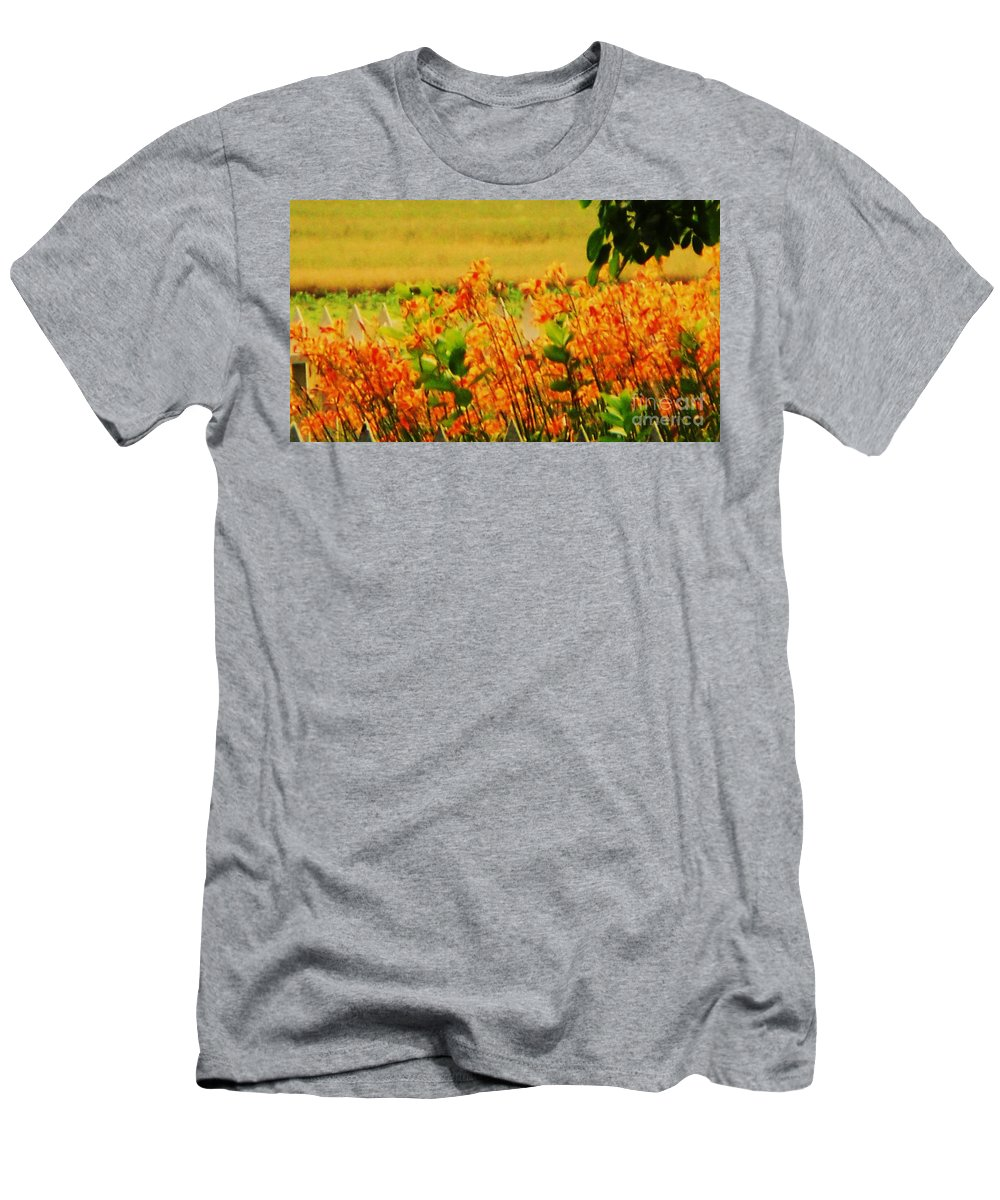 Nature Men's T-Shirt (Athletic Fit) featuring the photograph Gold And Orange Landscape by Eric Schiabor